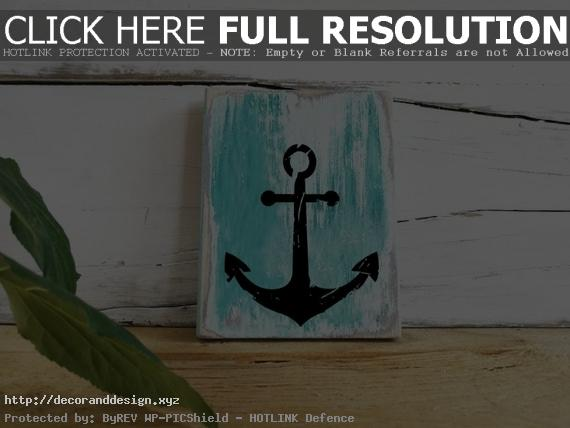 Anchor Wooden Sign Maritime Bathroom Decor Bath Decorations Wood Vintage  Wall Poster Picture ~ Maritime Wanddeko