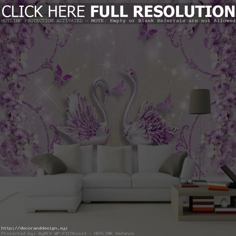 Dropship Custom Luxury Wallpaper Noble Ornate Purple European Flower Swan  Modern Wallpaper Mural 3D Living Room Wand Tapeten ~ Tapeten Modern