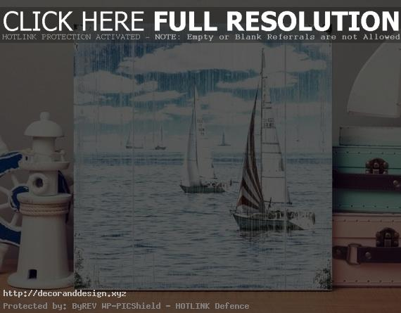 Maritime Image Segeltörn On Wood Canvas Art Print*sailboats Regatta*sea  Lake Waves*sky Blue*clouds*wall Decoration Vintage Shabby Chic ~ Maritime Wanddeko